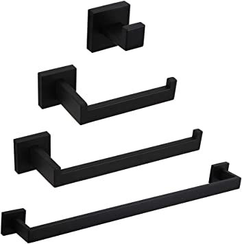 GERZWY Modern Matte Black 4-Piece Bathroom Hardware Set 24-Inch Towel Bar Toilet Paper Holder and 2X Towel Hook Wall Mounted SUS 304 Stainless Steel