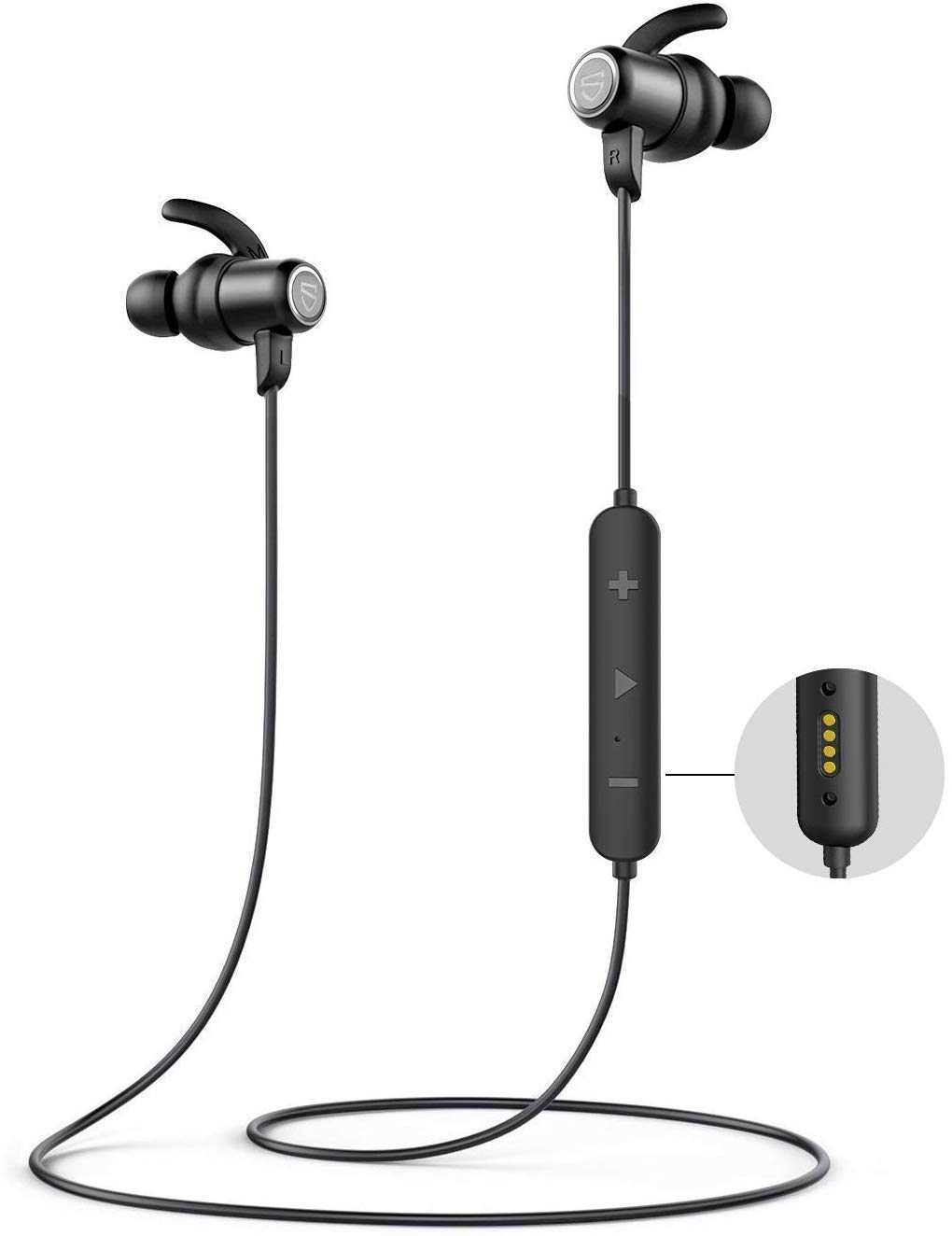 SoundPEATS Sports in-ear Earbuds IPX8 Sweatproof,Q35 HD Wireless Headphones APTX HD Bluetooth 5.0 Running Earphones with Magnetic Contactor,CVC Noise Cancellation Mic,14hrs Playtime