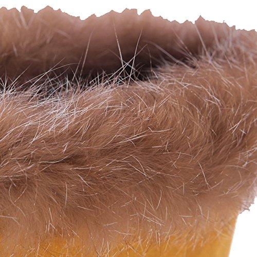 VogueZone009 Damen Mittler Absatz Rein Rund Zehe Mattglasbirne Schnüren Stiefel Gelb