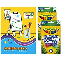 Crayola Ultra Clean Washable Markers, Fine Line, Classic Colors, 10 Count (2 Pack)| 1 Scribble Pad 50 Sheets