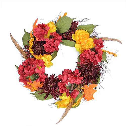 Northlight Autumn Harvest Peony, Mum & Feather Artificial Thanksgiving Floral Wreath Unlit, 24
