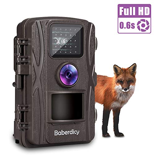 Baberdicy Trail Camera, 1080P 12MP HD Wildlife Camera Motion Activated Night Version,Waterproof Game Hunting Cam 120°Wide Angle, 0.2s Trigger Time, 65ft Range (Brown)