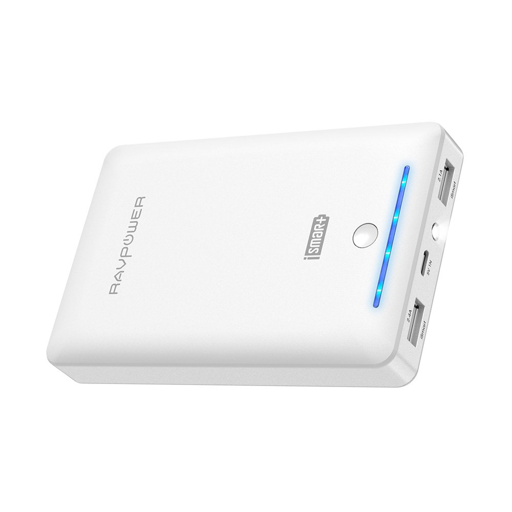 RAVPower Caricabatterie Portatile 16750mah da Uscita 4.5A (2.4A+2.1A), Entrata 2A Caricatore Portatile, Batteria Esterna, Carica Veloce, Ultra Compatto per Cellulari, Tablet e Smartphone (Bianco)