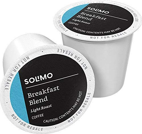 Amazon Brand - 100 Ct. Solimo Light Roast Coffee Pods, Breakfast Blend, Compatible with Keurig 2.0 Okay-Cup Brewers
