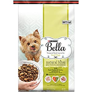 Purina Bella Natural Bites Plus Vitamins and Minerals With Real Chicken & Turkey and Accents of Carrots & Green Beans Adult Dry Dog Food 12 lb Bag, Pack of 1