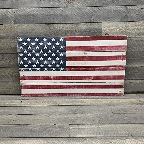 (American Flag Reclaimed Wood Pallet Sign USA Home Decor, Red White and Blue - varying sizes)