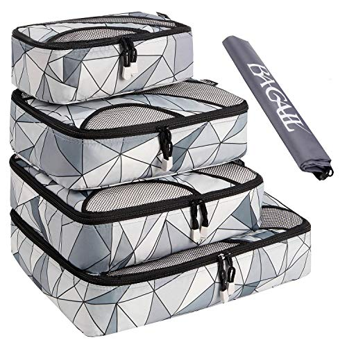 BAGAIL 4 Set Packing Cubes,Travel Luggage Packing Organizers with Laundry Bag Geomtry Grey