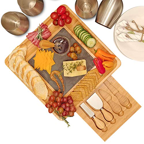 Premium Bamboo Cheese Board and Cutlery Set with Slate Centerpiece, Wood Charcuterie Platter, Serving Meat Board with Slide-Out Drawer with 4 Stainless Steel Knife and Server ()