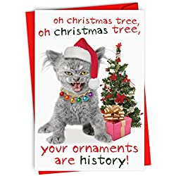 12 Boxed 'Your Ornaments are History' Christmas Cards with Envelopes (4.75 x 6.625 Inch), Merry Christmas Kitty Cat and Christmas Tree Holiday Notes, Frisky Feline with Christmas Decor B1978