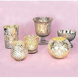 Luna Bazaar Vintage Glam Mercury Glass Candle Hold