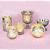 Luna Bazaar Vintage Glam Mercury Glass Candle Holders (Silver, Set of 6) - For Use with Tea Lights - For Home Decor, Parties, and Wedding Decorations