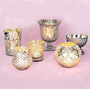 Luna Bazaar Vintage Glam Mercury Glass Candle Holders (Silver, Set of 6) - For Use with Tea Lights - For Home Decor, Parties, and Wedding Decorations - Mercury Glass Votive Holders