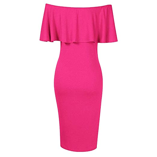 f3ceaf063e0f1 EDTO Women's Maternity Dress Off Shoulder Ruffle Plus Size Short Sleeve  Maxi Dress Hot Pink