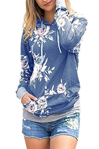 La Mujer Casual De Manga Larga Estampado Floral Hoodie Pullover Sweatshirt Outwear Deportes Con Cordon Blue