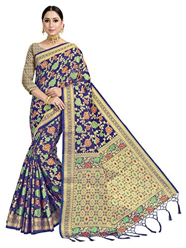 VARDHA SAREES 여성용 BANARASI 아트 실크 사리 | 인도 민족 디 왈리 푸자 짠 선물 사리 비 스티치 블라우스
