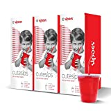 CuteSips Kids Drinking Cups Lids And Straws By Sipoes 3 Boxes of 15 (45 ct)