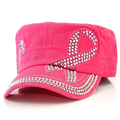 Rhinestone Breast Cancer Pink Ribbon Velcro Adjustable Cadet Cap Hat Indian (Cancer Adjustable Hat)