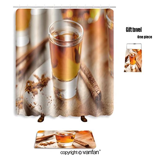 3' Cinnamon Sticks (vanfan bath sets with Polyester rugs and shower curtain cinnamon whiskey bourbon in a shot glass read shower curtains sets bathroom 72 x 72 inches&31.5 x 19.7 inches(Free 1 towel and 12 hooks))