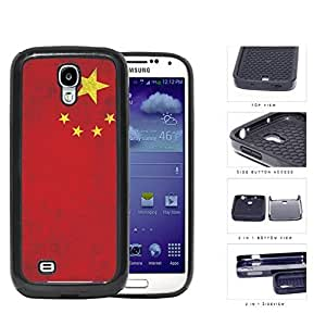 China Flag Red with Yellow Stars Grunge 2-Piece High Impact Dual Layer Black Silicone Cell Phone Case iPhone 4 4s