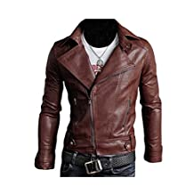 Legou Men's Classic Police Style Faux Leather Motorcycle Jacket