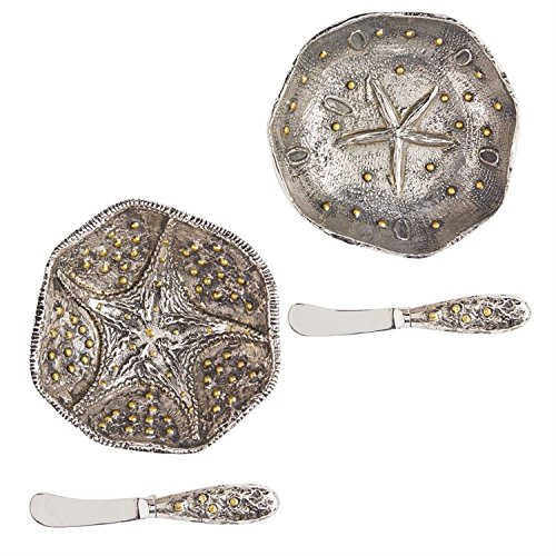 Sea Stars Starfish and Sand Dollar Dip Bowls with Matching Spreaders Set of 2