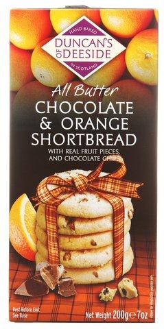 Scotland Hand Baked Butter Shortbread Cookie Box 7oz (Chocolate & Orange)