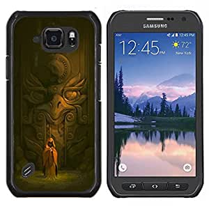 TECHCASE---Cubierta de la caja de protección para la piel dura ** Samsung Galaxy S6 Active G890A ** --Antiguo Templo Monk águila Estatua Espiritual