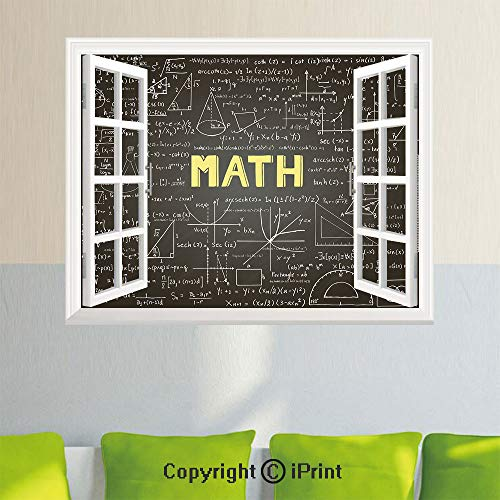Open Window Wall Decal Sticker,Dark Blackboard Word Math Equations Geometry Axis Decorative,27.5x23.6inch,Removable Wall StickerDark Brown White Yellow