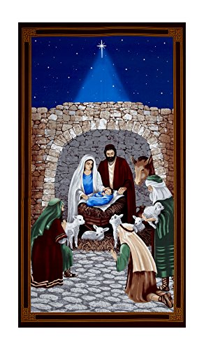 Blank Quilting Silent Night 24in Nativity Scene Panel Blue ()