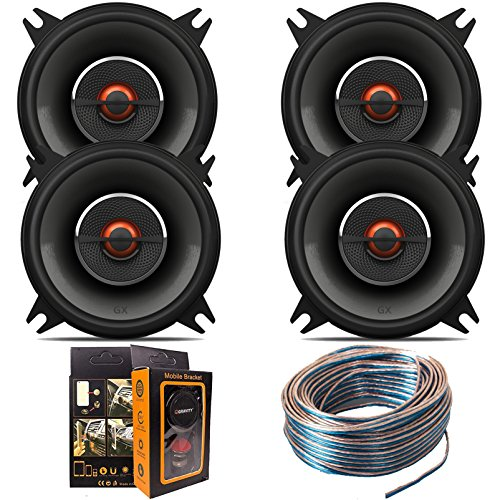 "(4) J-B-L GX402 4"" 210W 2-Way GX Series Coaxial Car Loudspeakers with 18 Gauge 100 FT Speaker Wire and Free Mobile Holder"