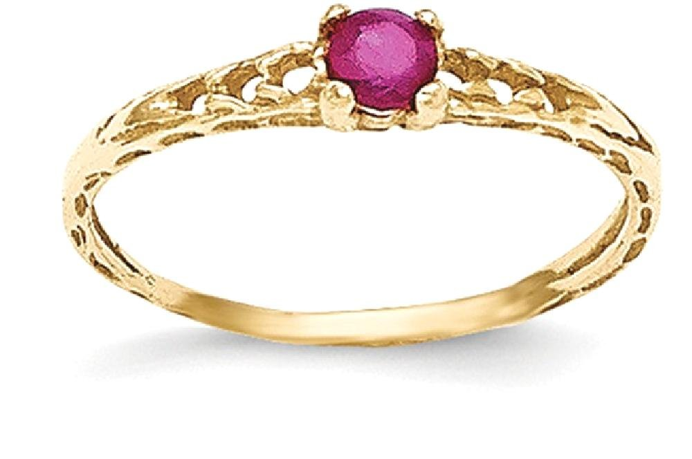 ICE CARATS 14k Yellow Gold 3mm Red Ruby Birthstone Baby Band Ring Size 3.00 July Fine Jewelry Gift Set For Women Heart