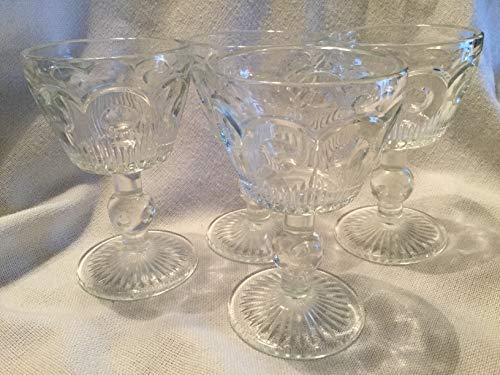 (Vintage Water/Wine Glasses, Coin Spot Glasses, Set of 4 Stemmed)