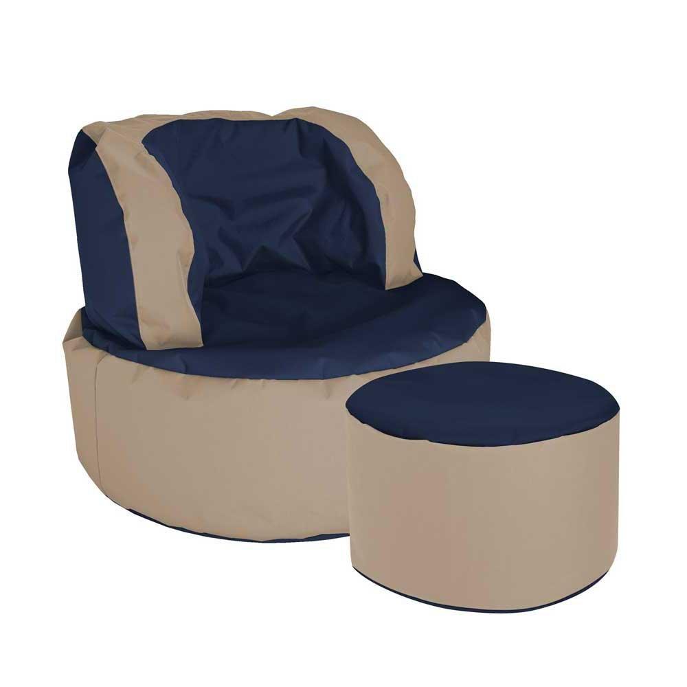 Pharao24 Sitzsack Sessel in Blau Beige Hocker mit Fußhocker Ja