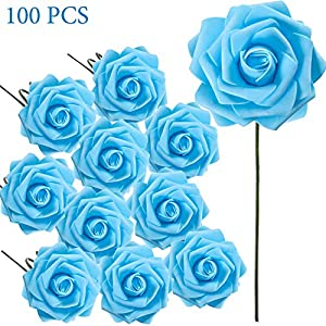 Poen 100 Pieces Artificial Flowers Roses Foam Rose with Stem for DIY Wedding Bouquets Centerpieces Party Baby Shower Home Decorations (Blue)