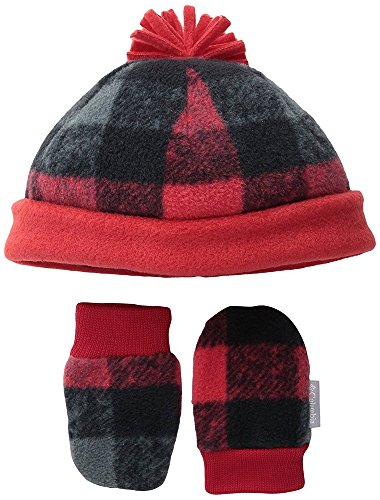 Columbia Baby Infant Fireside Cuddle Fleece Hat and Mitten Set, Mountain Red (Columbia Infant Hat And Mittens)