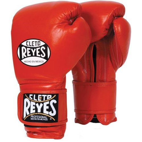 Cleto Reyes Hook and Loop Leather Training Boxing Gloves - 16 oz - Red