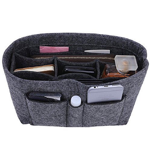 Felt Insert Bag Organizer Bag In Bag For Handbag Purse Organizer, 13 Colors, 3 Size (Slender Large, Grey)