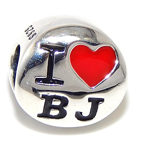 Pro Jewelry 925 Solid Sterling Silver 'I 'Heart' BJ' Charm Bead (Pandora International Charms)
