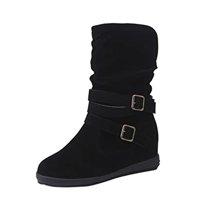 1af3d4f3a73 Creazy Ladies Womens Low Wedge Buckle Biker Ankle Trim Flat Ankle Boots  Shoes