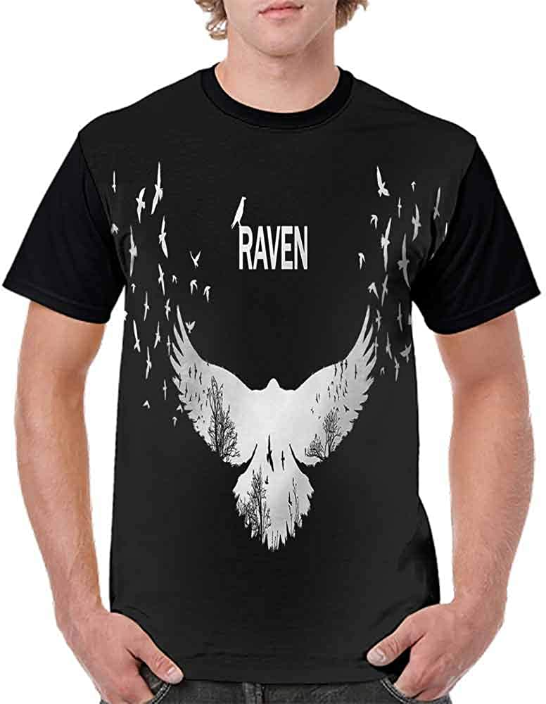 Loose T Shirt,Bird Fluttering Wings Scenery Fashion Personality Customization