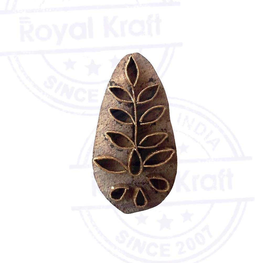 Indian Wooden Stamp Brass Floral Pattern Clay Printing Block