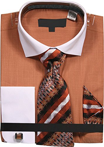 Sunrise Outlet Men's chambre Dress Shirt With Tie Handkerchief and Cufflinks - Rust 17.5 - Mens Outlet