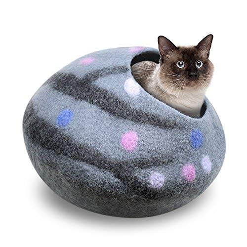 Juccini Handcrafted Felted Wool Cat Cave Bed for Cat and Kittens - Felted from 100% Natural Wool (Grey/Purple Dots, Medium) ()