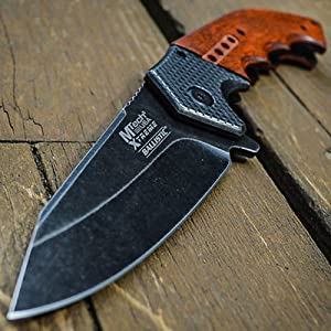 9″ SPRING ASSISTED OPEN Dailydeals 928 Tactical Blade Folding POCKET KNIFE Wood Steampunk