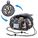 Adigow Lazy Drawstring Makeup Bag Magic Cosmetic Organizer Pouch Waterproof Travel Toiletry Bags For Womens,Deep Gray