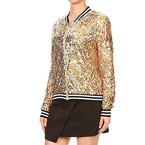 Dimanul✿ Sequin Jacket Women Tops Biker Jacket Bomber Jacket Women Fashion Long Sleeve Zip Jacket Coats Thin Jacket