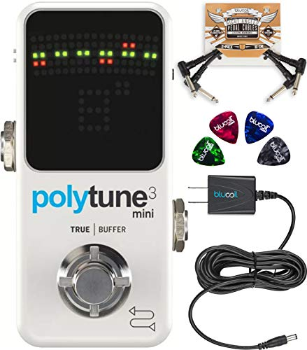 (TC Electronic PolyTune 3 Mini Polyphonic Tuner Pedal with BonaFide Buffer Bundle with Blucoil Slim 9V 670ma Power Supply AC Adapter, 2-Pack of Pedal Patch Cables, and 4-Pack of Celluloid Guitar Picks)
