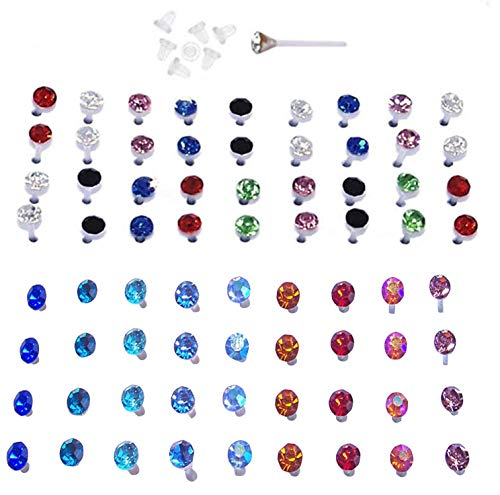 Nylon Stud (Set of Nylon Posts Plastic Posts Crystal Stud Hypoallergenic Earrings (18 Pairs Multi Color and 18 Pairs Vibrant Color Crystals))