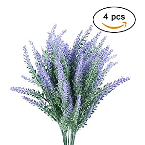 TinaWood 4pcs Artificial Flocked Lavender Bouquet DIY Bridle Flowers Arrangements Real Touch Wedding Flower Plants for Party Room Home Hotel Event Christmas Gift Decoration 94