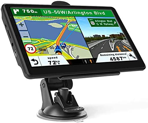 GPS Navigation for Car Truck, Latest Map Touchscreen 7 Inch 8G 256M Navigation System with Voice Guidance and Speed Camera Warning, Lifetime Free Map Update